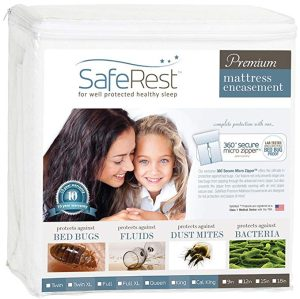 SafeRest Premium Zippered Mattress Encasement - Lab Tested Bed Bug Proof, Dust Mite and Waterproof - Breathable, Noiseless and Vinyl Free